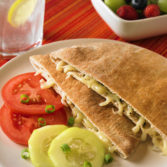Baked Pita Cheese Sandwich with Tomatoes and Cucumbers