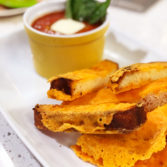 Easy Tomato Soup with Crispy Cheesy Dippers