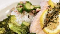Steamed Salmon with Rice and Broccoli