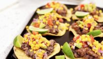 Turkey and Bean Tostadas with Avocado-Tomato Salsa