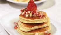 Souffle Pancakes with Strawberries, Bananas and Pecans