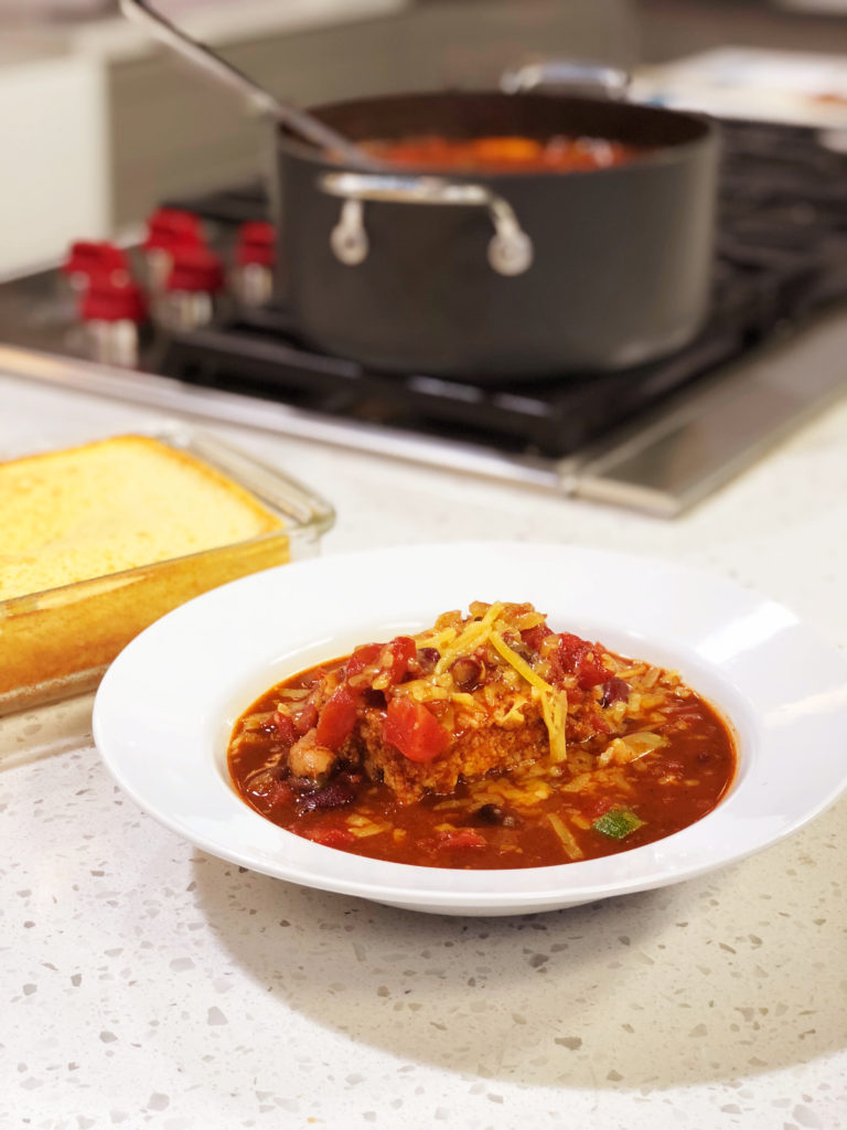 Dutch Oven Chicken Chili With Cornbread Cooking With Chef Bryan